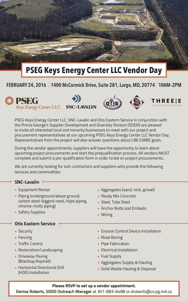 PSEG Keys Energy Center LLC, SNC Lavalin, Otis Eastern Service & SDDD Host Vendor Day
